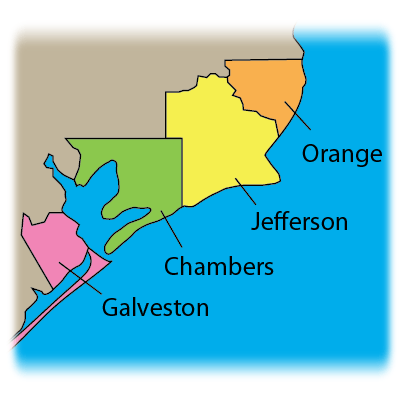 Affected Areas: Orange, Jefferson, Chambers, Galveston